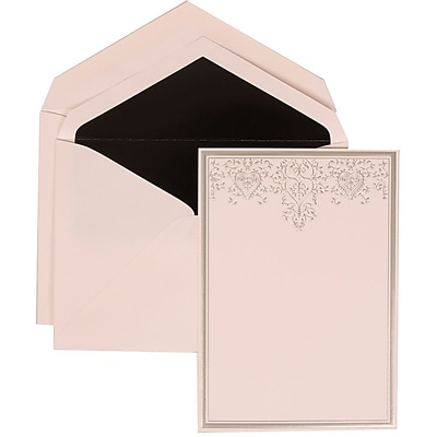 JAM Paper® Wedding Invitation Set, Large, 5.5 x 7.75, White Cards, Silver Heart Jewels, Black Lined Envelopes, 50/pk (305524716)