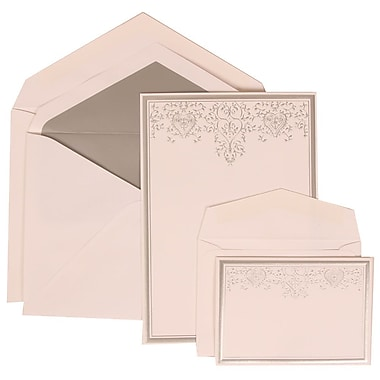 JAM Paper® Wedding Invitation Combo Sets, 1 Sm 1 Lg, White Cards, Silver Heart Jewels, Silver Lined Env, 150/pack (305524719)