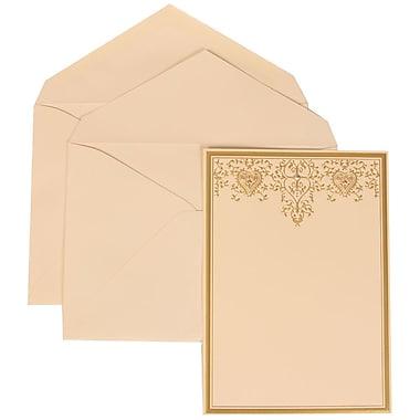JAM Paper® Wedding Invitation Set, Large, 5.5 x 7.75, Ivory, Gold Heart Jewel Design, Ivory Lined Envelopes, 50/pack (305624727)