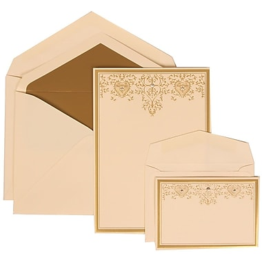JAM Paper® Wedding Invitation Combo Sets, 1 Sm 1 Lg, Ivory, Ivory Lined Envelopes, Gold Heart Jewel Design, 150/pack (305624724)