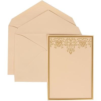 JAM Paper® Wedding Invitation Set, Large, 5.5 x 7.75, Ivory, Gold Heart Jewel Design, Ivory Lined Envelopes, 50/pack (305624734)