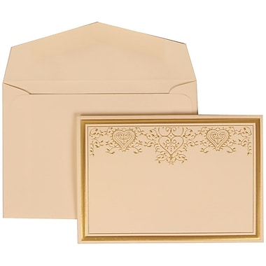JAM Paper® Wedding Invitation Set, Small, 3 3/8 x 4 3/4, Ivory with Ivory Envelopes and Gold Heart Jewel, 100/pack (305624729)