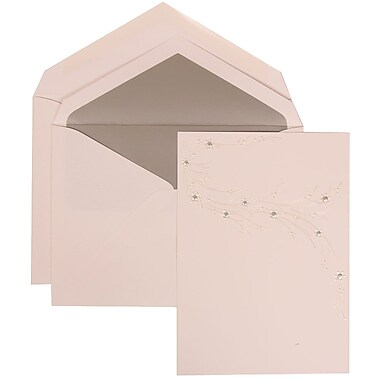 JAM Paper® Wedding Invitation Set, Large, 5.5 x 7.75, White, Ivory Flower Design, Silver Lined Envelopes, 50/pack (310925171)