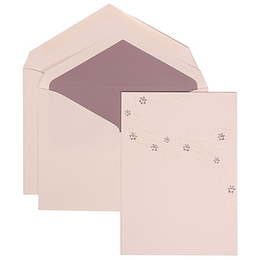 JAM Paper® Wedding Invitation Set, Large, 5.5 x 7.75, White, Purple Flower Jewel Design, Purple Lined Env, 50/pack (310925178)