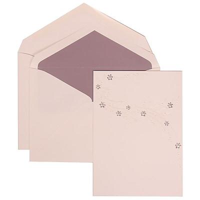JAM Paper® Wedding Invitation Set, Large, 5.5 x 7.75, White, Purple Flower Jewel Design, Purple Lined Env, 50/pack (310925178)