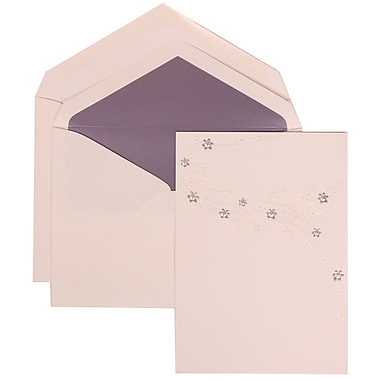 JAM Paper® Wedding Invitation Set, Large, 5.5 x 7.75, White, Purple Flower Jewel Design, Purple Lined Env, 50/pack (310925180)
