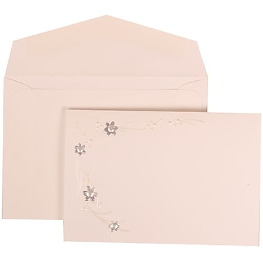 JAM Paper® Wedding Invitation Set, Small, 3 3/8 x 4 3/4, White Card, Purple Flower Jewels, White Envelopes, 100/pk (310925175)