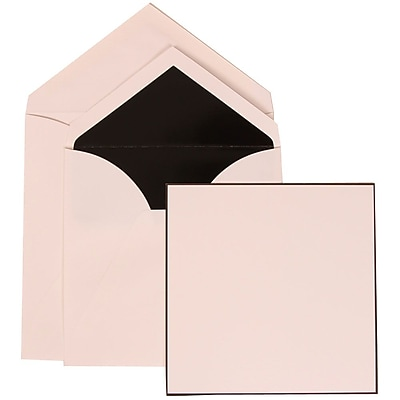 JAM Paper® Wedding Invitation Set, Large Square, 6.25 x 6.25, White, Black Border, Black Lined Envelopes, 50/pack (306824819)