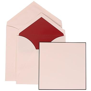 JAM Paper® Wedding Invitation Set, Large Square, 6.25 x 6.25, White Cards, Black Border, Red Lined Envelopes, 50/pk (306824821)