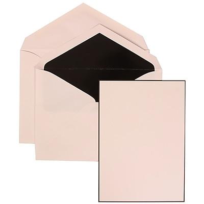 JAM Paper® Wedding Invitation Set, Large, 5.5 x 7.75, White Card, Black Border Floral, Black Lined Envelopes, 50/pk (306924827)