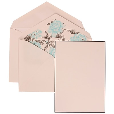 JAM Paper® Wedding Invitation Set, Large, 5.5 x 7.75, White, Black Border Floral, Blue Floral Lined Envelopes, 50/pk (306924831)