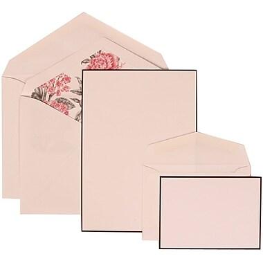 JAM Paper® Wedding Invitation Combo Sets, 1 Sm 1 Lg, White, Black Border Floral, Pink Floral Lined Envelopes, 150/pk (306924830)