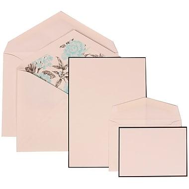 JAM Paper® Wedding Invitation Combo Sets, 1 Sm 1 Lg, White, Black Border Floral, Blue Floral Lined Envelopes, 150/pk (306924832)