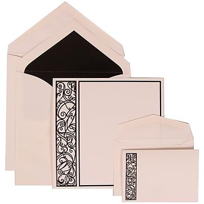 JAM Paper® Wedding Invitation Combo Sets, 1 Sm 1 Lg, White, Black Intricate Panel, Black Lined Envelopes, 150/pack (307024835)