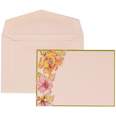JAM Paper® Wedding Invitation Set, Small, 3 3/8 x 4 3/4, White Floral Cards with Lime Border, White Envelope, 100/pk (307924909)
