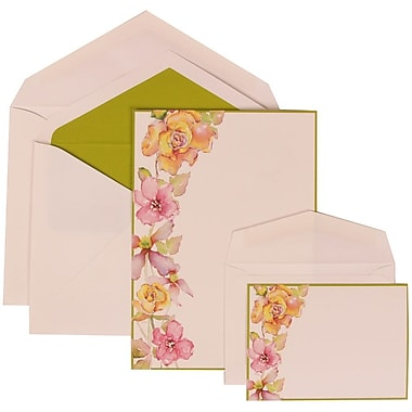 JAM Paper® Wedding Invitation Combo Sets, 1 Sm 1 Lg, White Floral Cards, Lime Border, Green Lined Envelopes, 150/pk (307924910)