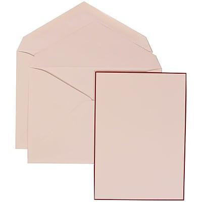 JAM Paper® Wedding Invitation Set, Large, 5.5 x 7.75, Crimson Red Border Card with White Lined Envelopes, 50/pack (308024924)