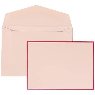 JAM Paper® Wedding Invitation Set, Small, 3 3/8 x 4 3/4, White Cards with Pink Border, White Envelopes, 100/pack (308024917)