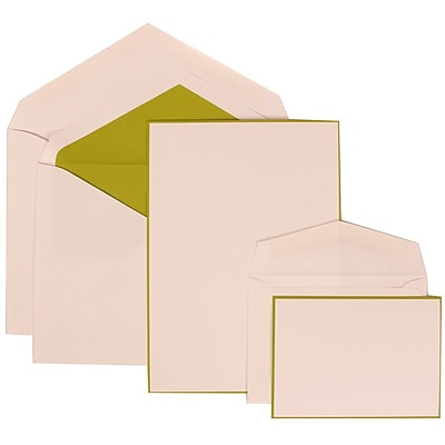JAM Paper® Wedding Invitation Combo Sets, 1 Sm 1 Lg, White Cards with Lime Green Border and Lined Envelopes, 150/pk (308024913)