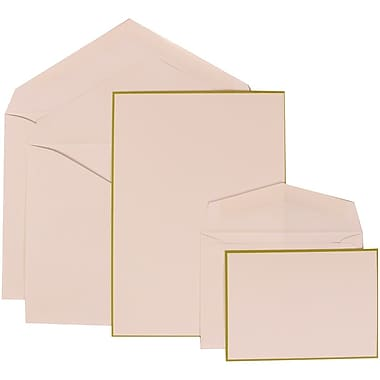 JAM Paper® Wedding Invitation Combo Sets, 1 Sm 1 Lg, White Cards with Lime Green Border, White Envelopes, 150/pack (308024915)