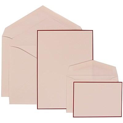 JAM Paper® Wedding Invitation Combo Sets, 1 Sm 1 Lg, White Cards with Red Border, White Envelopes, 150/pack (308024925)