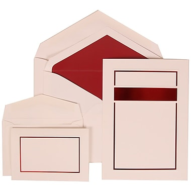 JAM Paper® Wedding Invitation Combo Sets, 1 Sm 1 Lg, White Cards, Red Band Design, Red Lined Envelopes, 150/pack (310025083)
