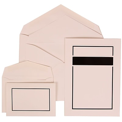 JAM Paper® Wedding Invitation Combo Sets, 1 Sm 1 Lg, White Cards with Black Border, White Envelopes, 150/pk (310025085)