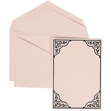 JAM Paper® Wedding Invitation Set, Large, 5.5 x 7.75, White Card with Black Ornate Border, White Envelopes, 50/pack (310125088)