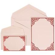 JAM Paper® Wedding Invitation Combo Sets, 1 Sm 1 Lg, White Cards, Red Ornate Border, White Envelopes, 150/pack (310125093)