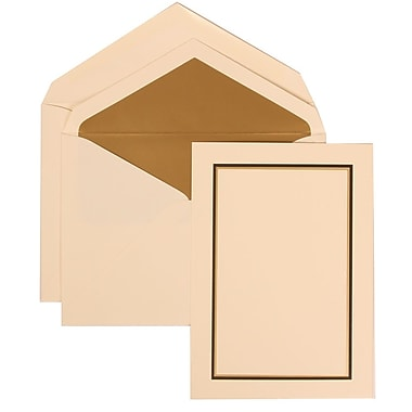 JAM Paper® Wedding Invitation Set, Large, 5.5 x 7.75, Ivory, Black and Gold Border, Gold Lined Envelopes, 50/pack (310225094)