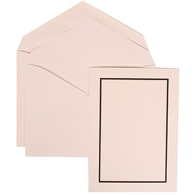 JAM Paper® Wedding Invitation Set, Large, 5.5 x 7.75, White with White Envelopes and Black and Ivory Border, 50/pack (310325100)