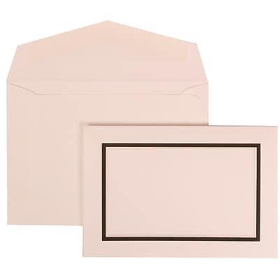 JAM Paper® Wedding Invitation Set, Small, 3 3/8 x 4 3/4, White Card, Black and Ivory Borde, White Envelopes, 100/pk (310325101)