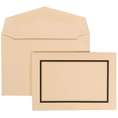 JAM Paper® Wedding Invitation Set, Small, 3 3/8 x 4 3/4, Ivory Cards with Black Border, Ivory Envelopes, 100/pack (310325098)