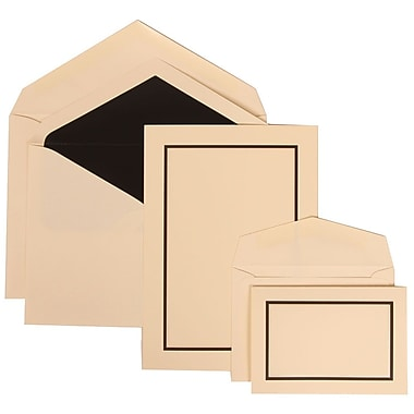 JAM Paper® Wedding Invitation Combo Sets, 1 Sm 1 Lg, Ivory with Black Lined Envelopes with Ivory Border, 150/pack (310325099)