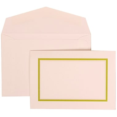 JAM Paper® Wedding Invitation Set, Small, 3 3/8 x 4 3/4, White with Kiwi Border and Kiwi Lined Envelopes, 100/pack (310625120)