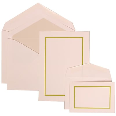 JAM Paper® Wedding Invitation Combo Sets, 1 Sm 1 Lg, White Cards, Crystal Lined Envelopes, Kiwi Green Border, 150/pk (310625124)