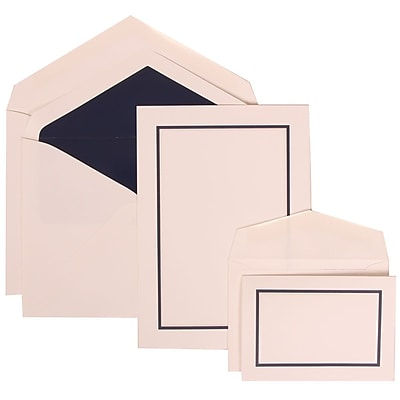 JAM Paper® Wedding Invitation Combo Sets, 1 Sm 1 Lg, White, Navy Blue Border, Navy Blue Lined Envelopes, 150/pack (310625128)