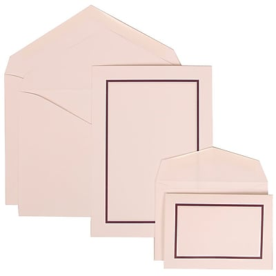 JAM Paper® Wedding Invitation Combo Sets, 1 Sm 1 Lg, White Cards with Purple Border, White Envelopes, 150/pack (310625139)