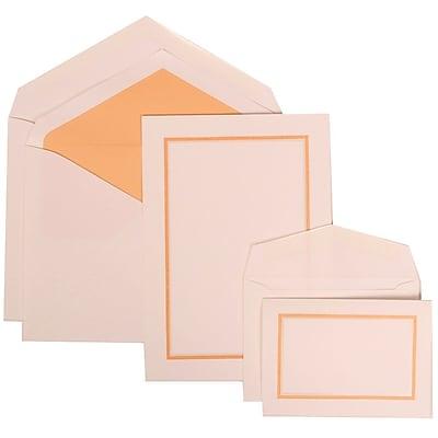 JAM Paper® Wedding Invitation Combo Sets, 1 Sm 1 Lg, White Card with Orange Border, Orange Lined Envelopes, 150/pack (310725147)