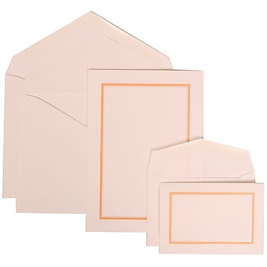 JAM Paper® Wedding Invitation Combo Sets, 1 Sm 1 Lg, White Cards with Light Orange Border, White Envelopes, 150/pack (310725151)