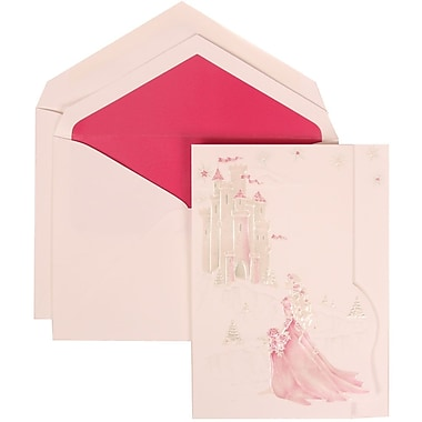 JAM Paper® Wedding Invitation Set, Large, 5.5 x 7.75, White with Pink Lined Envelopes and Pink Princess, 50/pack (311625192)