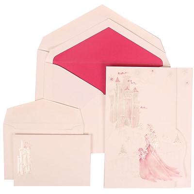 JAM Paper® Wedding Invitation Combo Sets, 1 Sm 1 Lg, White Cards, Pink Princess, Pink Lined Envelopes, 150/pack (311625196)