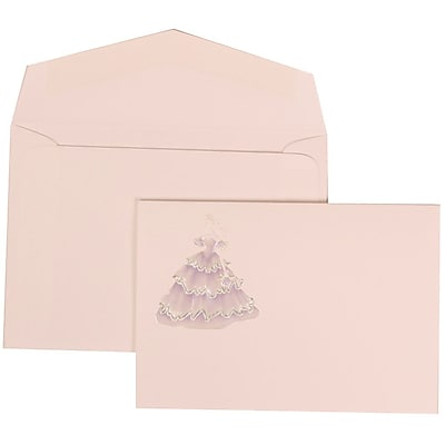 JAM Paper® Wedding Invitation Set, Small, 3 3/8 x 4 3/4, Purple with White Envelopes and Colorful Princess, 100/pack (311725199)