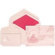 JAM Paper® Wedding Invitation Combo Sets, 1 Sm 1 Lg, White Card, Pink Princesss Design, Pink Lined Envelopes, 150/pk (311725201)