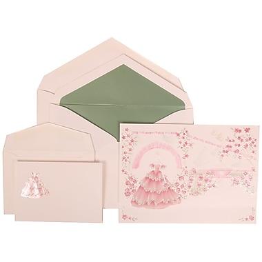 JAM Paper® Wedding Invitation Combo Sets, 1 Sm 1 Lg, Pink, Colorful Princess, Sage Green Lined Envelopes, 150/pack (311725203)