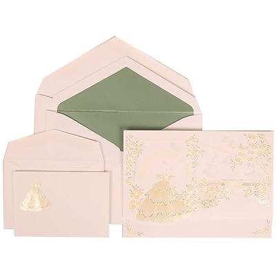 JAM Paper® Wedding Invitation Combo Sets, 1 Small and 1 Large, Yellow Card with Sage Lined Envelopes, 150/pack (311725205)