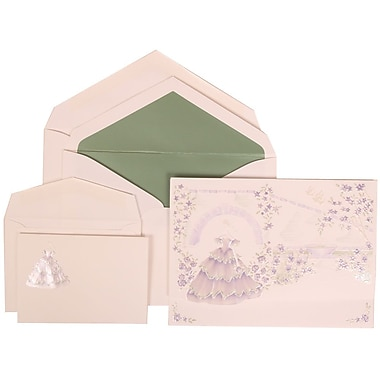 JAM Paper® Wedding Invitation Combo Sets, 1 Sm 1 Lg, Purple, Colorful Princess, Sage Green Lined Envelopes, 150/pack (311725209)
