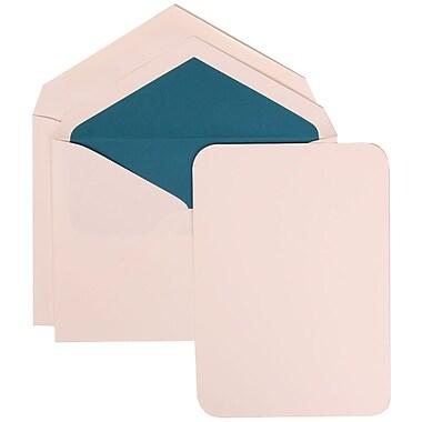 JAM Paper® Wedding Invitation Set, Large, 5.5 x 7.75, White Card with Rounded Edges, Blue Lined Envelopes, 50/pack (311825211)