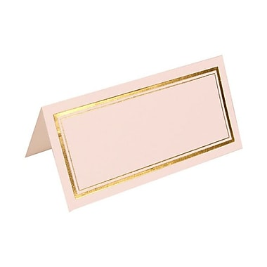 JAM Paper® Foldover Placecards, 2 x 4.25, White with Double Gold Border place cards, 100/pack (312125229)