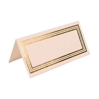 JAM Paper® Foldover Placecards, 2 x 4.25, White With Gold Triple Border place cards, 100/pack (312125237)